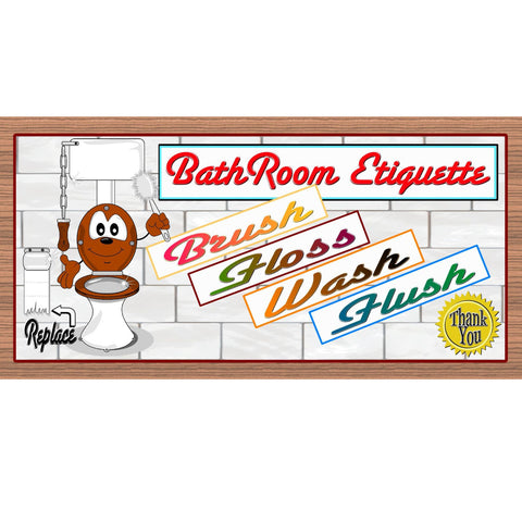 Bathroom Wood Signs - Bathroom Etiquette- GS 2101 Bathroom Rules