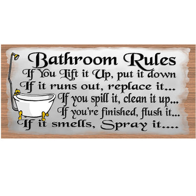 Bathroom Wood Signs - Bathroom Rules plaque- GS 535