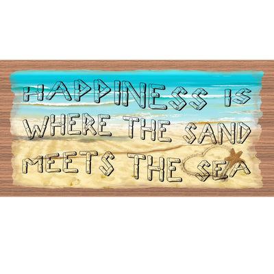 Beach Wood Signs - Happiness is Where the Sand Meets the Sea G S2122