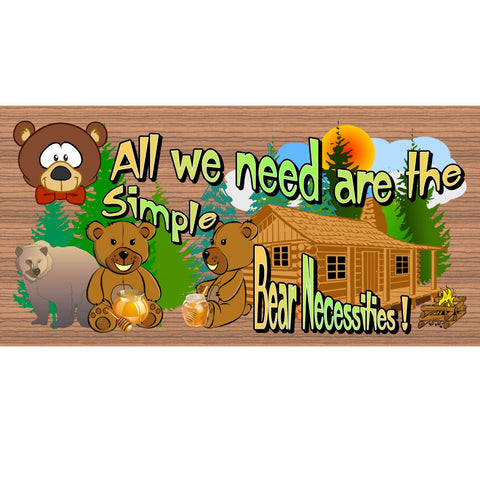 Wood Signs - All We Need are the Simple Bear Necessities GS2131 Cabin sign with Bear