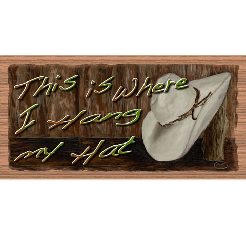 Wood Signs - Hat- GS2140 - Wooden signs - Rustic Wood Sign Western