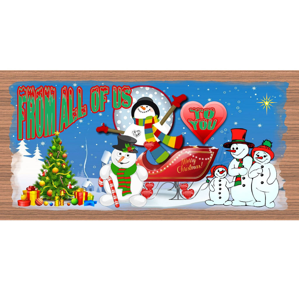 Wood Signs - Handmade Wood Sign Merry Christmas- GS1468 Wood plaque Christmas -Holiday Snowman Santa