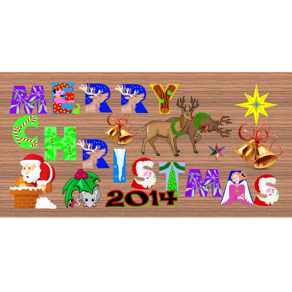 Christmas Wood Signs - Handmade Merry Christmas 2015 sign GS1482 GiggleSticks plaque Christmas Holiday Snowman Santa