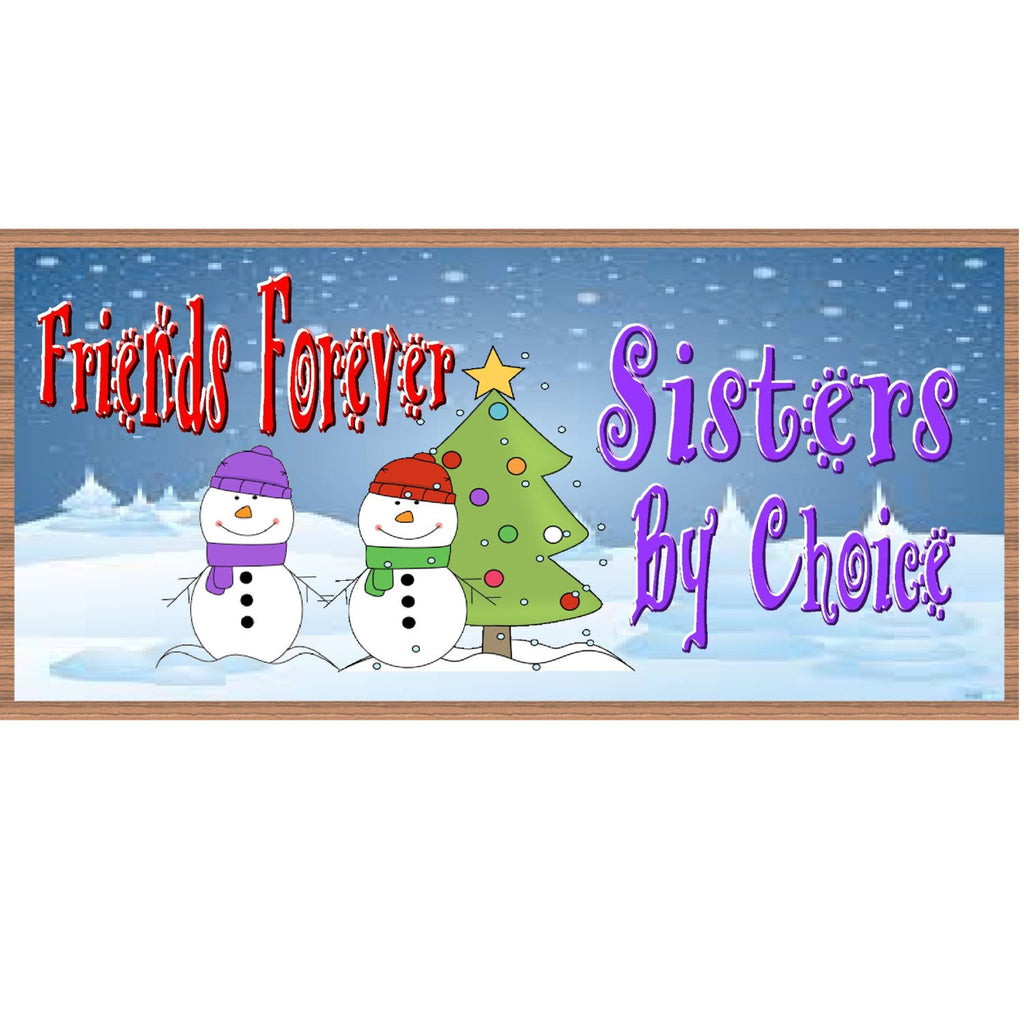 Wood Signs - Handmade Wood Sign Sister - Snowman sign wood - Christmas Wood Plaque- Sign About Being Sisters- Sister Gift