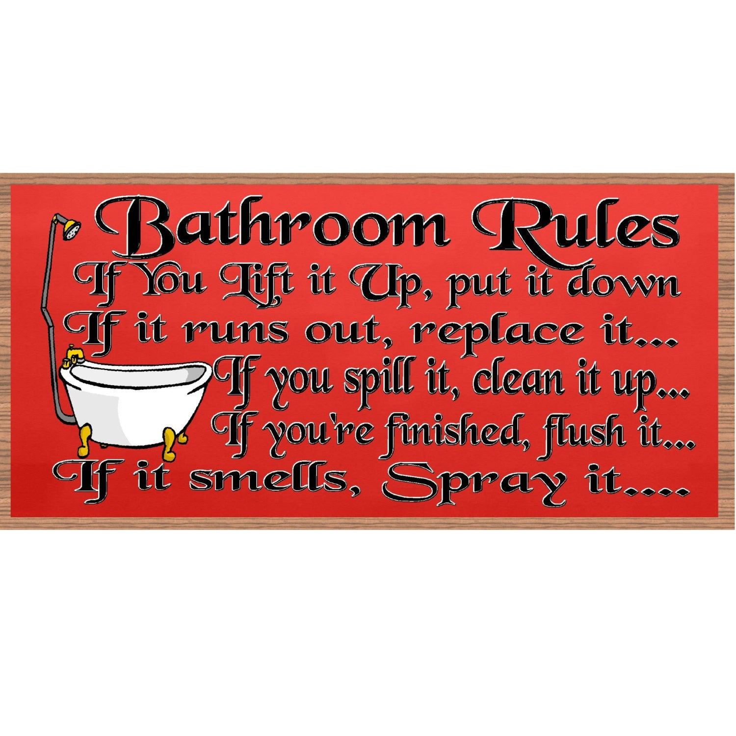 GS 736  Bathroom Rules plaque Bathroom Decor Wood Signs