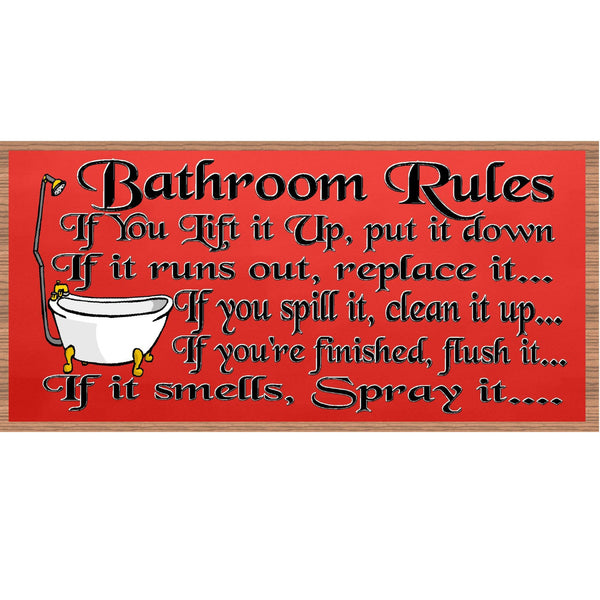 Bathroom Wood Signs - Bathroom Rules plaque- GS 536