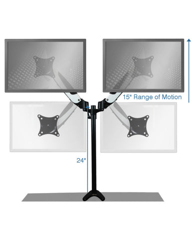 Sit-Stand Monitor Arm: Dual Screen Air-Assist Arms