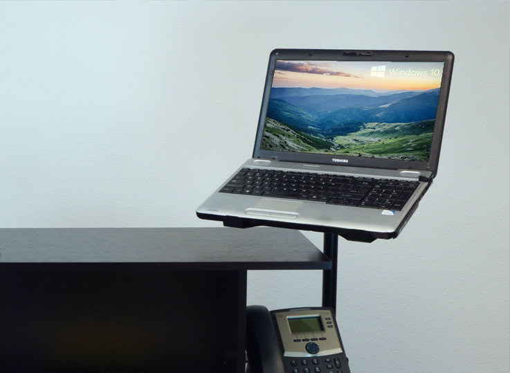 Sit-Stand Monitor Arm: Single Air-Assist Arm with White Accent including Laptop Stand