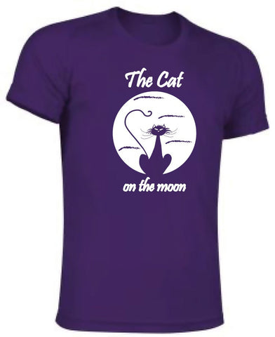 Camiseta poliéster - The cat on the moon