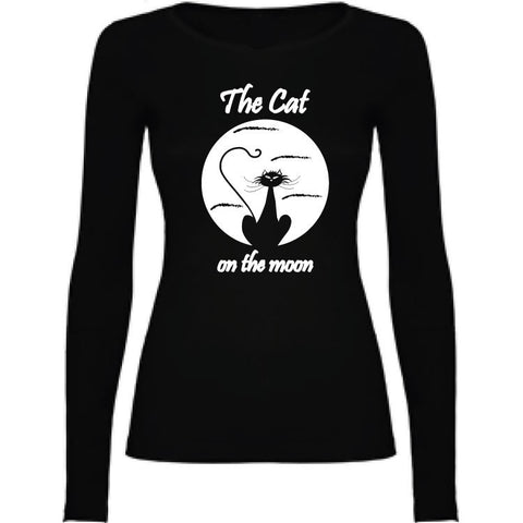 Camiseta manga larga chica - The cat on the moon
