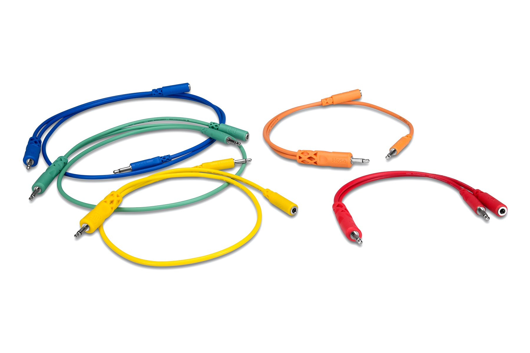 Hopscotch Patch Cables Colored 3.5 mm TS with 3.5 mm TSF Pigtail to 3.5 mm TS