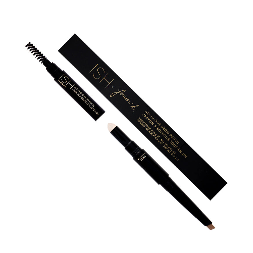 Three piece eyebrow pencil with a brush.
