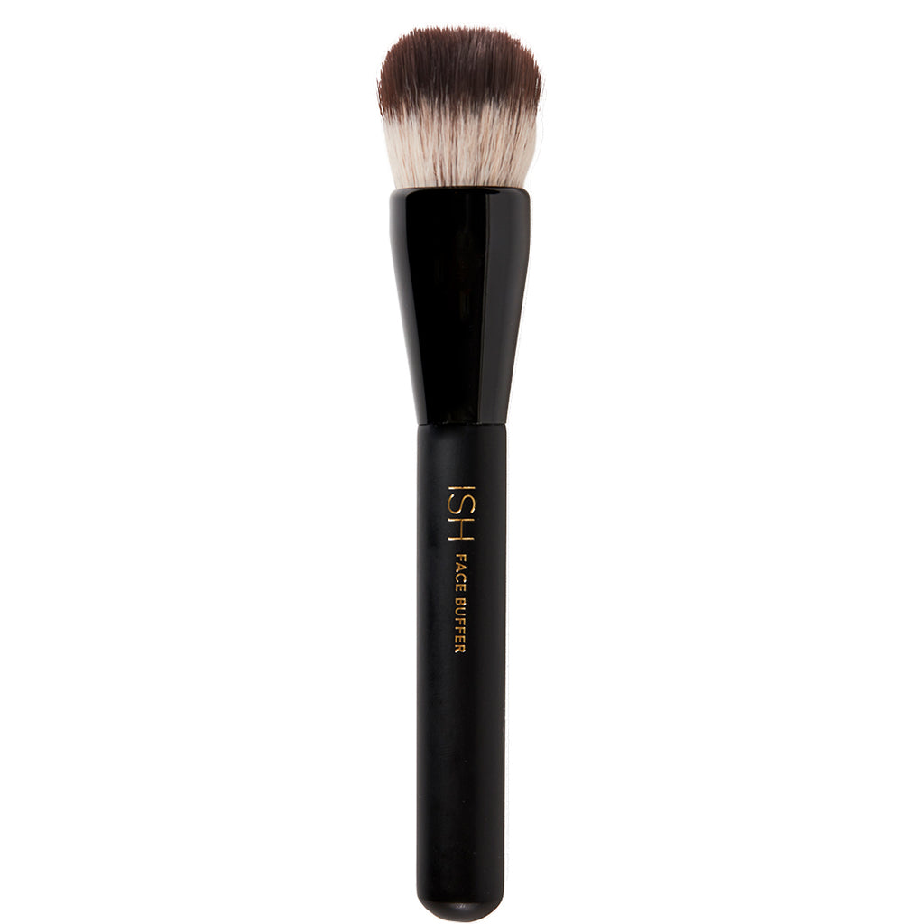 Face buffer makeup brush with a black wooden handle