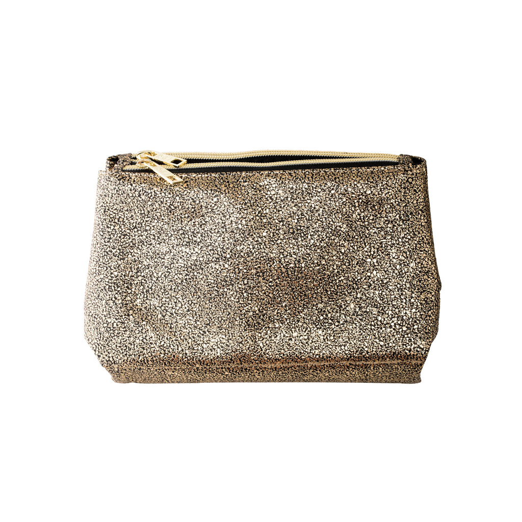 Gold metallic makeup bag from ISH