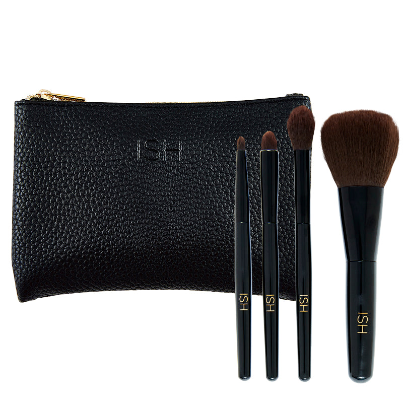 Makeup brush bundle with a black travel case