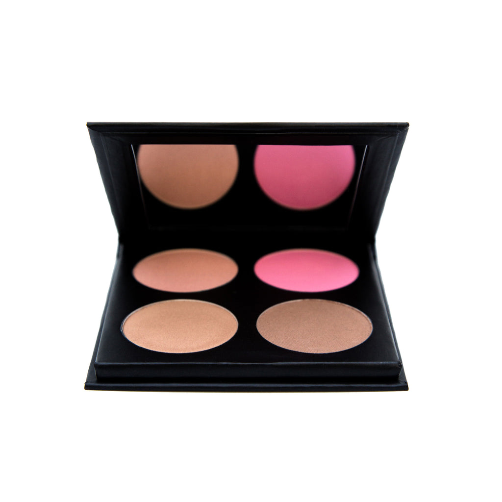 Contour kit including contour powder, highlighter, bronzer and blush.