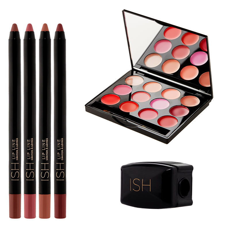 Lipstick set with four lip liners and a lip pencil sharpener.