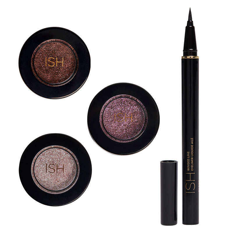 Shimmery eye shadow bundle and liquid eyeliner.