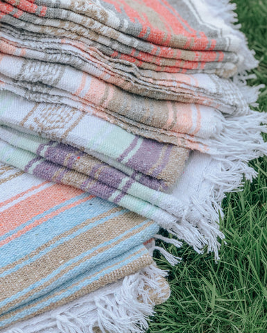 mexican blanket handmade eco friendly recycled fabric beach throw yoga