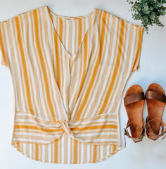 striped vneck flat lay with mia sandals