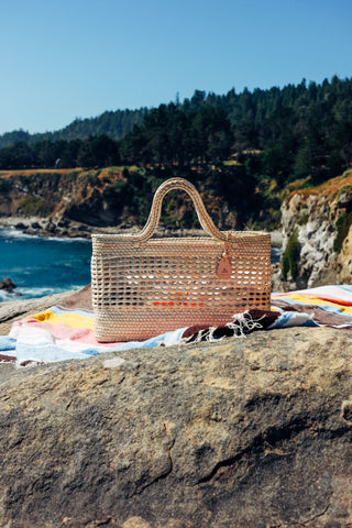 hello nipomo beach market bag tote