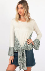 hummingbird printed tie front bell sleeve top