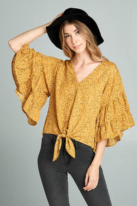 printed flutter sleeve top with front tie