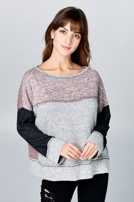 color block boat neck sweater