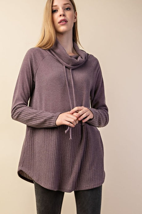 solid + ribbed cowl neck sweater