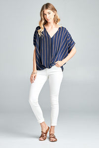 short sleeve striped top with front knot