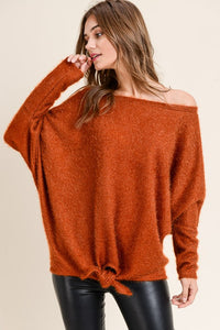off the shoulder fuzzy top with front tie