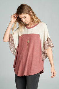waffle knit short sleeve top with floral sleeve