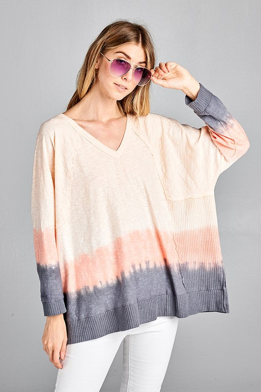 vneck sweater with gradient dye