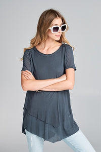 double layer charcoal gray tee shirt
