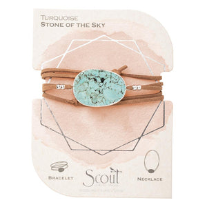 suede + stone wrap bracelet - stone of the sky