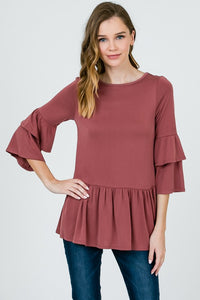 mauve double layer babydoll bell sleeve top