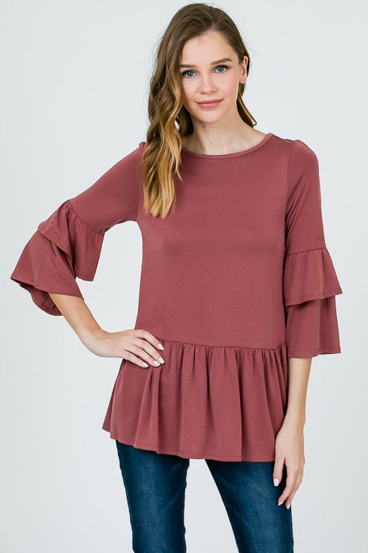 double layer peplum top with ruffle sleeve