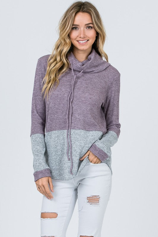 color block turtle neck sweatshirt