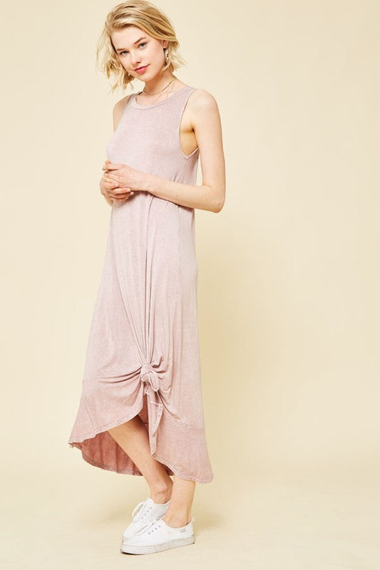 washed tank midi dress with ruffle bottom