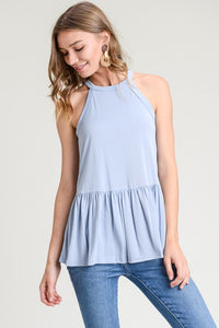 high neck tank with peplum hem