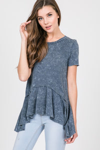 navy washed short sleeve top with ruffle hem