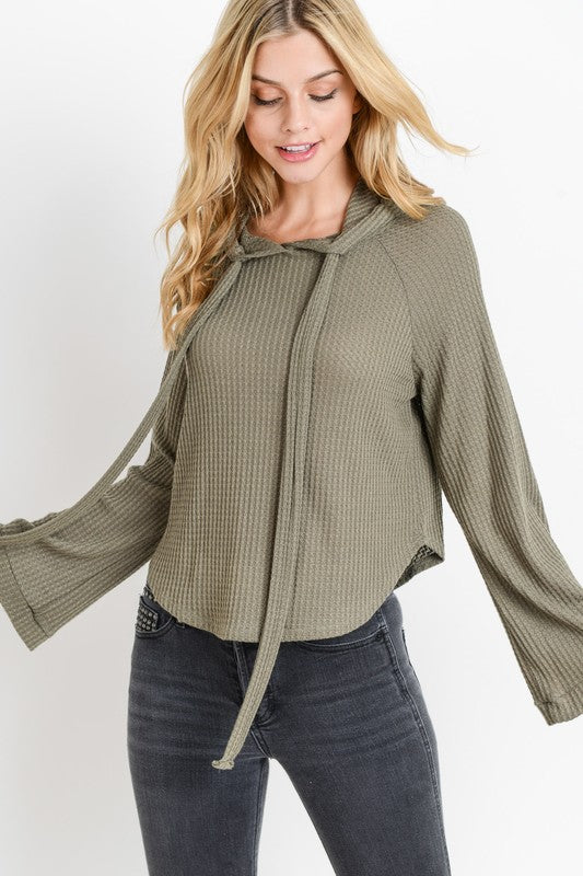 waffle knit hoodie with bell sleeves olive green scoop hem