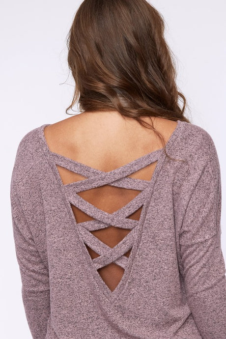 long sleeve sweater with criss cross back