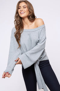 off the shoulder waffle knit top with front tie
