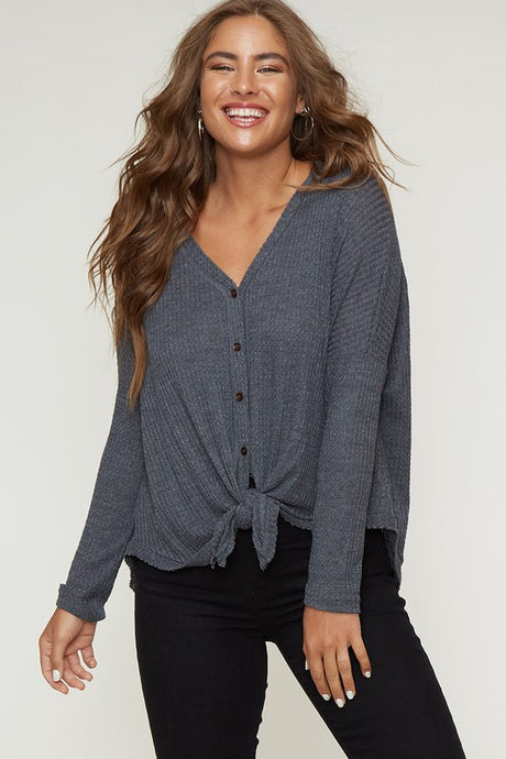 waffle knit top with front buttons and tie