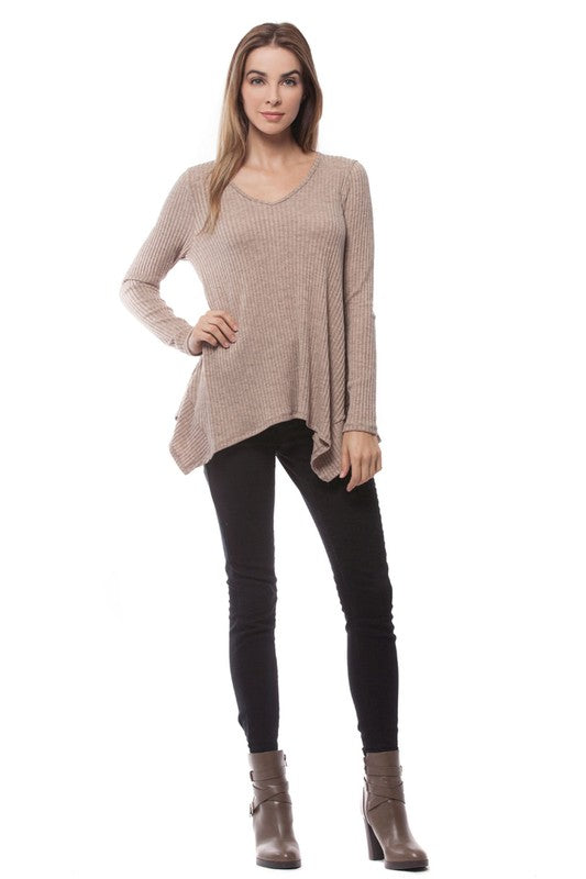 camryn asymmetrical ribbed long sleeve