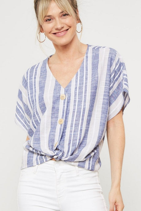 dolman sleeve blue striped lien button top with front tie