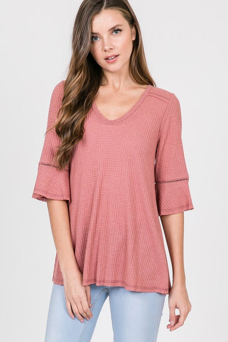 half sleeve waffle knit short mauve top with stitch detail