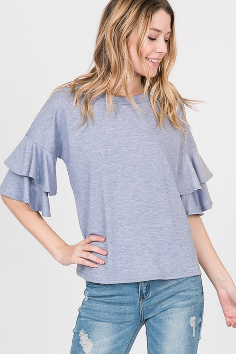double bell sleeve top denim
