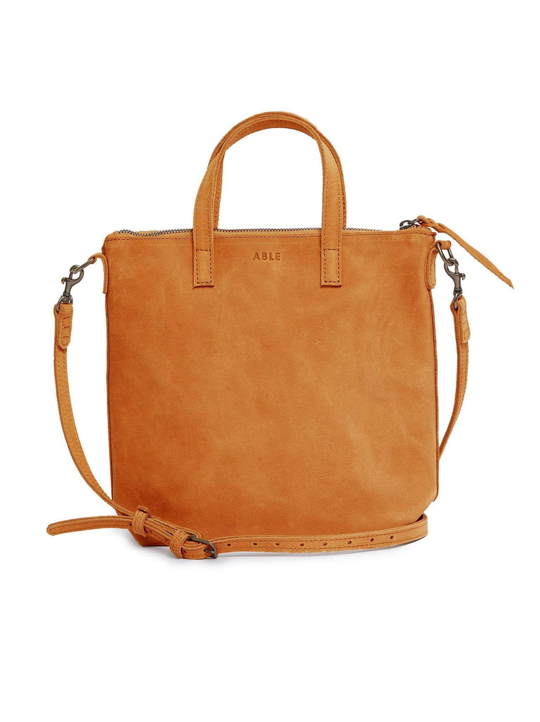 fashionable cross body zip closure cognac bag purse long and short strap